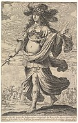 Zenobia wearing armor and walking towards the left, holding a spear in her right hand, a lion hunt in the background