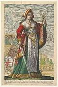 French Judith, holding a sword in her right hand and a lily in her right hand, having just stabbed the sleeping Duke Amolon in the background to left