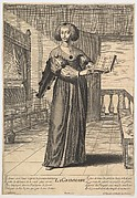 Grammar: a young woman standing in a decorated interior holding an open book in her left hand and pointing to the alphabet inscribed on its pages with her right hand, from the series 'The liberal arts' (Les arts liberaux)