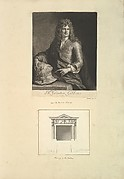 Leaf from Aedes Walpolianae mounted with a print and a drawing (a): Portrait of Grinling Gibbons; (b) Chimney to the Parlour, Houghton Hall, Norfolk