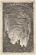 Plate 10: The Ancient Gallery: a large covered gallery, light entering from the background, six figures standing atop piles of rocks in the foreground, from 'Les soirées de Rome'