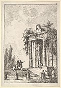 Plate 4: remains of a classical monument to right surmounted by a mask and tablet, a figure sitting on the porch, four figures on a staircase to left, four milestones below, from 'Les soirées de Rome'