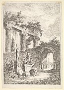 Plate 3: The Statue Before the Ruins: a statue to left next to three figures on a pedestal, a beggar standing in an archway to right, four columns and the remains of an entablature to top left, from 'Les soirées de Rome'