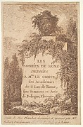 Title page: a wall in center surrounded by ruins and poplar trees, surmounted by a vase decorated with the head of a satyr, from 'Les soirées de Rome'