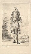 Standing man with right hand tucked into his waistcoat, shown in frontal view with his head turned toward the left, from the series 'Figures of fashion' (Figures de modes)