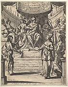 Marianne standing to right before Herod and his court at top center, being accused by the butler at left of poisoning her husband, frontispiece for 'Tristan L'Hermite'