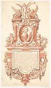 Epitaph and portrait of Jacques Callot, the bust of Callot within a cartouche at center, angels to either side and on top, the one at left wiping his eyes and holding a skull, the one at right holding a coat of arms, the three at top holding a palm, a trumpet, and a laurel leaf
