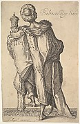 Balthasar, stepping upward with his left foot and holding a lidded vessel at the level of his left shoulder, shown from behind