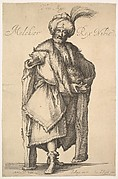 Melchior, shown standing in frontal view and holding a lidded jar