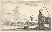 Plate 5: A Pikeman standing at right next to a canon, other military figures in the background, from 'Various Military Caprices' (Varii capricci militari)