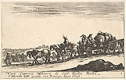 Plate 1: A horse drawn cart carrying people and goods, dead horse in the foreground, from 'Various Military Caprices' (Varii capricci militari)