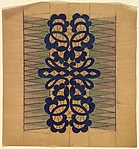 Vertical Panel with Openwork Lace Pattern in Blue at Center