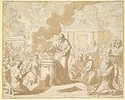 Classical Scene with Figures Gathered around a Sacrificial Altar