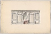 Design for a Wall Elevation with an Arched Mirror over a Fireplace (First Floor)
