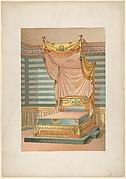 Bed in Egyptian Style, from 'Nouveaux modèles de Tentures (Bibliothèque de l'Ameublement)'