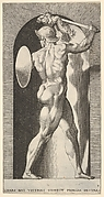 Plate 9: Mars in a niche, naked holding a sword above his head and a shiled on his left arm, from a series of mythological gods and goddesses