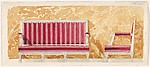 Design for a Canape with Red Upholstery against a Yellow Marbled Backdrop for Harold Brown Esq. (RI)