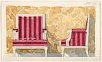 Design for a Chair with Red Upholstery against a Yellow Marbled Backdrop for Harold Brown Esq. (RI)
