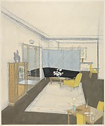 Design for a Living Room with Chaise Lounge Against a Mirrored Screen