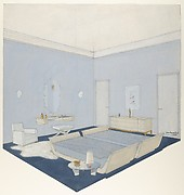 Design for a bedroom, in blue, twin beds and other furniture of bleached wood, or laquered
