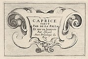 Plate 1: A cartouche with series title, from 'Caprice faict par de la Bella'