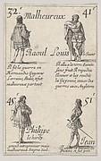 Raoul ... /  Louis le Jeune..., from 'Game of the Kings of France' (Jeu des Rois de France)