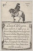 Louis 6.-e dit le gros / Sage, vaillant..., from 'Game of the Kings of France' (Jeu des Rois de France)