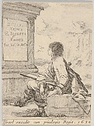 Plate 1: a young man sitting on a stone, facing left in profile, holding a drawing pad in his lap and a pen in his left hand, a pedestal with title to left and ruins to right in the background, title page from 'Various heads and figures' (Diverses têtes et figures)