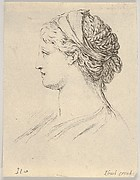 Plate 3: head of a woman with braided hair, turned in profile to the right, from 'Various heads and figures' (Diverses têtes et figures)