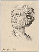 Plate 4: head of an old woman with a bonnet, looking left from 'Various heads and figures' (Diverses têtes et figures)