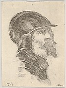 Plate 6: head of an old bearded soldier wearing a helmet facing right, from 'Various heads and figures' (Diverses têtes et figures)