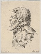 Plate 7: bust of a bearded soldier wearing armor, facing left in profile, from 'Various heads and figures' (Diverses têtes et figures)