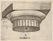Doric capital with measurements