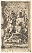 Two young tritons, one playing a panpipe, the second holding a conch shell and embracing the other with his right arm, with a frame composed of a baluster and straight-edged planks