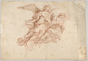 Two Angels Flying; verso: God the Father Seated in the Clouds and a Sketch of a Figure Flying
