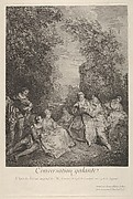 'Gallant conversation' (Conversation galante): couples engage in conversation in a garden setting, at left a musician plays for the group, at right a woman holds a reclining lap dog