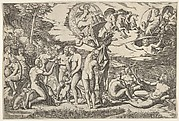Judgment of Paris: Paris extends his hand toward Venus, who stands between Juno and Minerva, surrounded by reclining and seated figures; above are a winged figure carrying a laurel wreath, a charioteer driving four horses, Castor and Pollux, and Jupiter accompanied by Ganymede, an eagle, Diana, and two other female figures