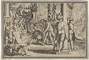 Allegory of Justice (Sanctity of the Law) with a court scene depicting a man being pardoned by a judge, from Thronus Justitiae, tredecim pulcherrimus tabulis..., plate 12