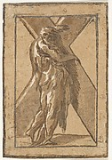 St. Andrew standing in profile view and grasping a monumental cross, chiaroscuro woodcut in green and brown, from a series of twelve apostles after Parmigianino