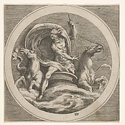 Neptune rising from the sea and bearing a staff, accompanied by two horse-headed sea creatures, reverse copy after a series of engravings by Cherubino Alberti of mythological scenes after Polidoro da Caravaggio