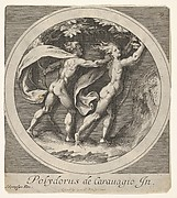 Apollo pursuing Daphne, whose toes take the form of tree roots, a round composition, reverse copy after a series of engravings by Cherubino Alberti of mythological scenes after Polidoro da Caravaggio