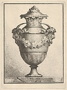 Design for a covered vase with two goat heads and a garland