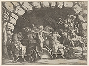 Pluto, seen from behind, entering the Underwold on his chairot, Cereberus and three Furies to right, from 'Giove che fulmina li giganti', after the frescoes on the ceiling of the Sala dei Giganti designed by Giulio Romano for the Palazzo del Te, Mantua