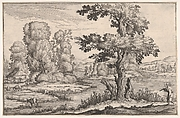 Landscape with goats grazing near a river and a figure in the right foreground, from a series of landscapes dedicated to the Grand Duke of Tuscany