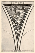 Summer (Estate), represented as a robed woman bearing a horn of plenty, a spandrel-shaped composition from the series 'The Four Seasons' after Polidoro da Caravaggio