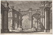 Two ladies and two gentlemen dancing within an ornate architectural setting, a fountain at center in the background, a scene from