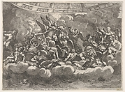 Gathering of various Olympian gods and mythological figures among clouds, Apollo at center with his lyre, Vulcan, Mercury, Hercules, and Hermes to right, various figures below, horses and attendants behind in center, from 'Giove che fulmina li giganti', after the frescoes on the ceiling of the Sala dei Giganti designed by Giulio Romano for the Palazzo del Te, Mantua