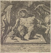 Lamentation over the body of Christ by the three Marys, a jar of ointment on the table to left and two nails to right