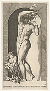 Plate 17: Bacchus standing naked in a niche holding aloft grapes over a plate accompanied by an infant satyr, from the series 'Mythological gods and goddesses'