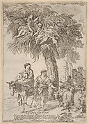 Flight into Egypt, the members of the Holy Family look toward shepherds and sheep striding alongside them, angels above cling to the branches of a tree